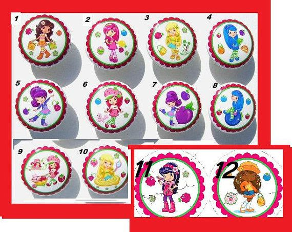 8 Set Strawberry Shortcake and Friends kids girls Dresser Drawer Knobs you choose which 8