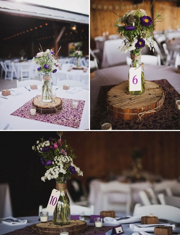 Love the flower display with wood and a milk bottle type for Milk can table ideas