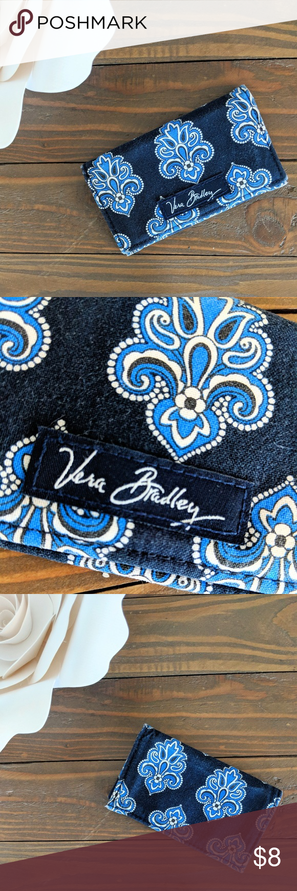 Vera Bradley Classic Navy Business Card Holder 💼 | Business card ...