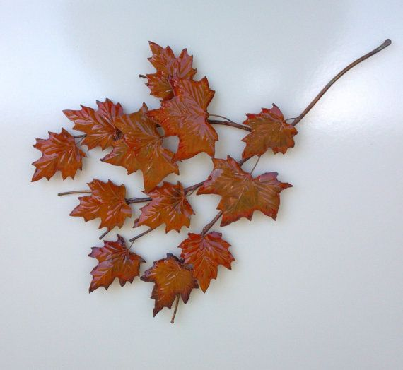 Copper maple branch 64 copper art metal art metal for Metal leaf wall art