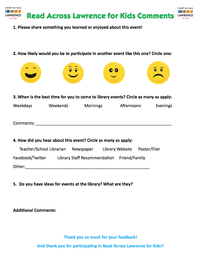Create Summer Reading Club Events Feedback Sheet  Paws To Read