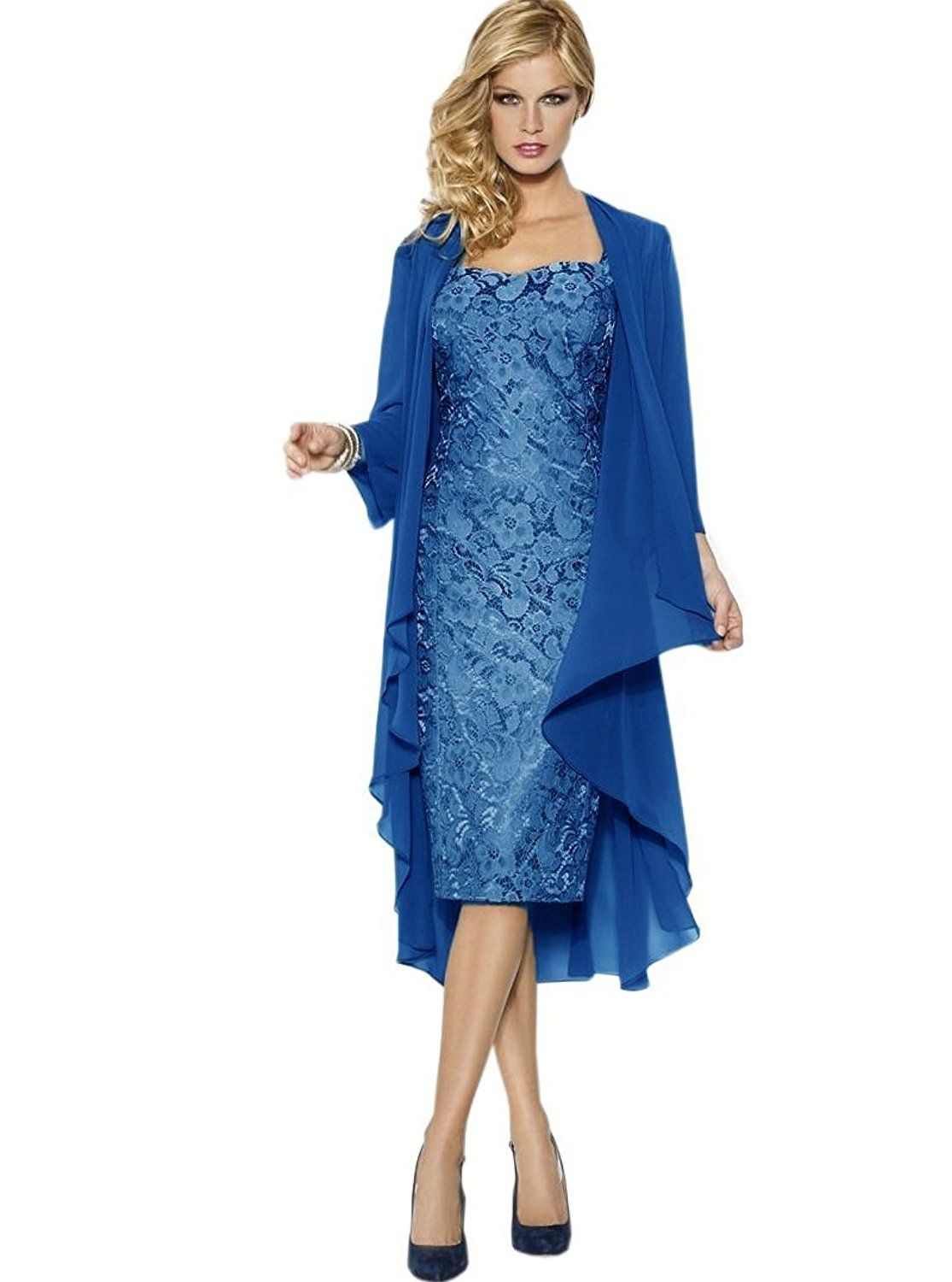 Uryouthstyle Lake Blue Lace Tea Length Mother of the Bride Dress ...