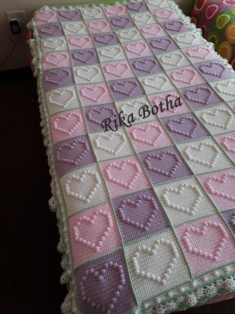 Bobble Heart Crochet Blanket | Afghans And Blankets