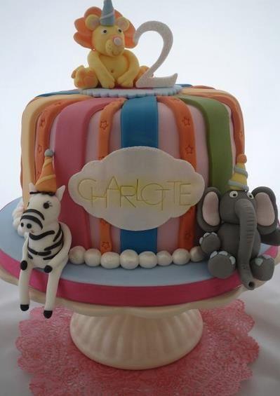 color stripes zoo animals cake Cake DecoratIonspiration