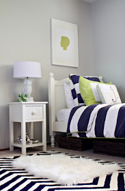 navy, lime green and gray boys bedroom | living room