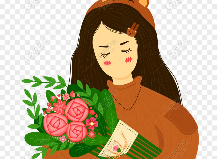 Paling Keren 30 Gambar Tangan Memegang Buket Bunga Gratis Tangan Ditarik Kartun Wanita Kartun Kasual Memegang Download Undu Menggambar Tangan Gambar Bunga
