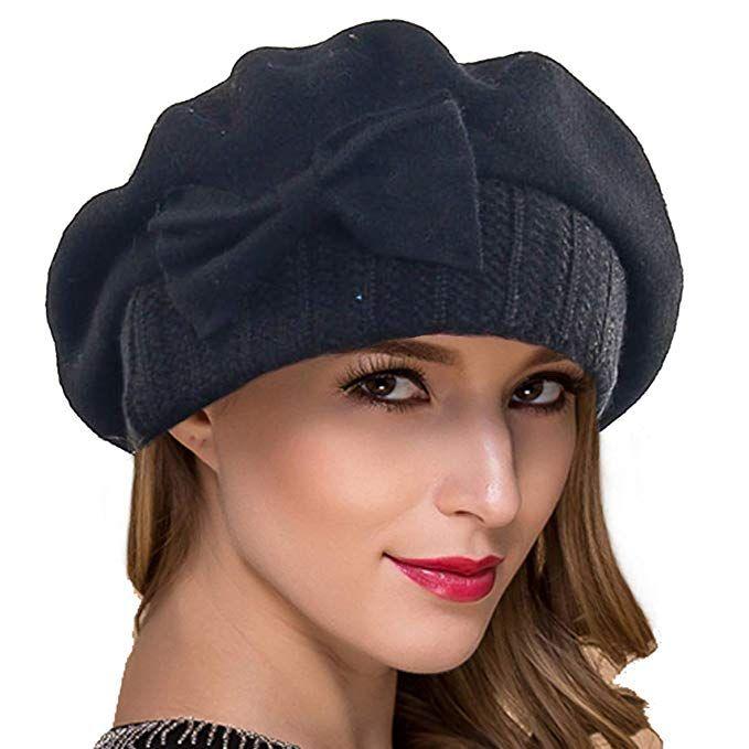Ruphedy Women French Beret Knit Wool Beret Beanie Winter Hats Hy022 (Black) 649438148e13