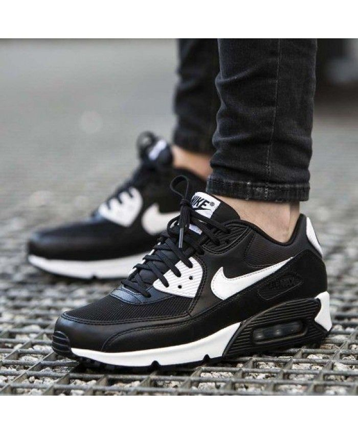 ab52bf0631201 Nike Air Max 90 Essential Womens and Mens Black White Trainers ...