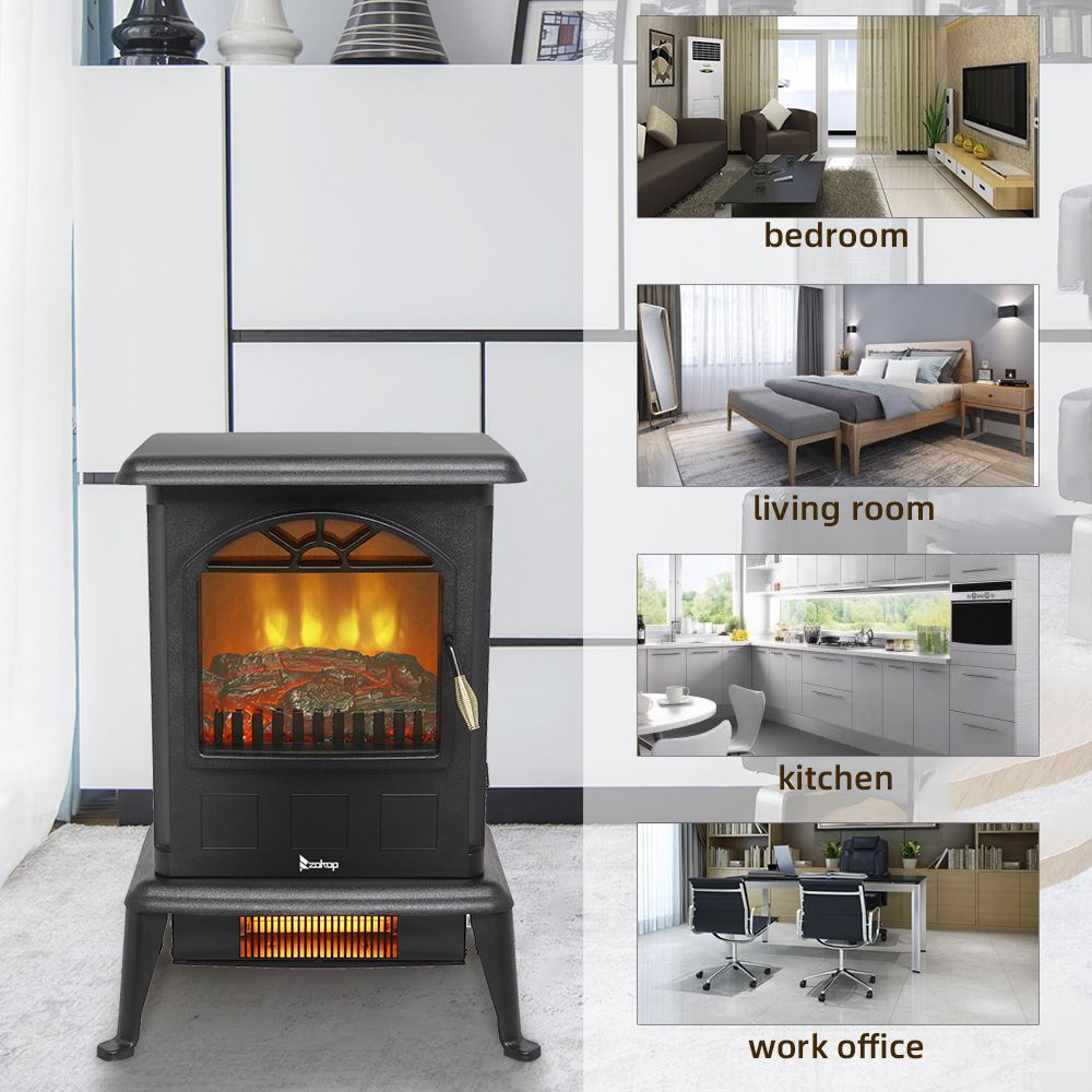 Infrared Electric Fireplace Stove Air Choice Freestanding Electric Fireplace Heater With 3d Flame Effect 2 Heat Modes 1500w Ultra Strong Power Adjustable F Fireplace Heater Infrared Fireplace Electric Fireplace Heater
