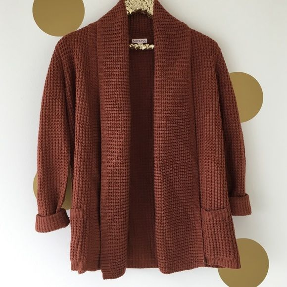 Burnt Orange Boyfriend Cardigan Sweater This long knit cardigan is ...