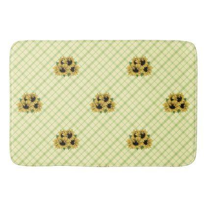 plaid n sunflower bathroom floor mat - rustic gifts ideas
