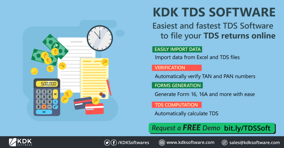 Kdk Tds Software Easiest And Fastest Tds Software To File Your Tds Returns Online Import Data From Excel And Tds Files Auto Tax Software Software Income Tax
