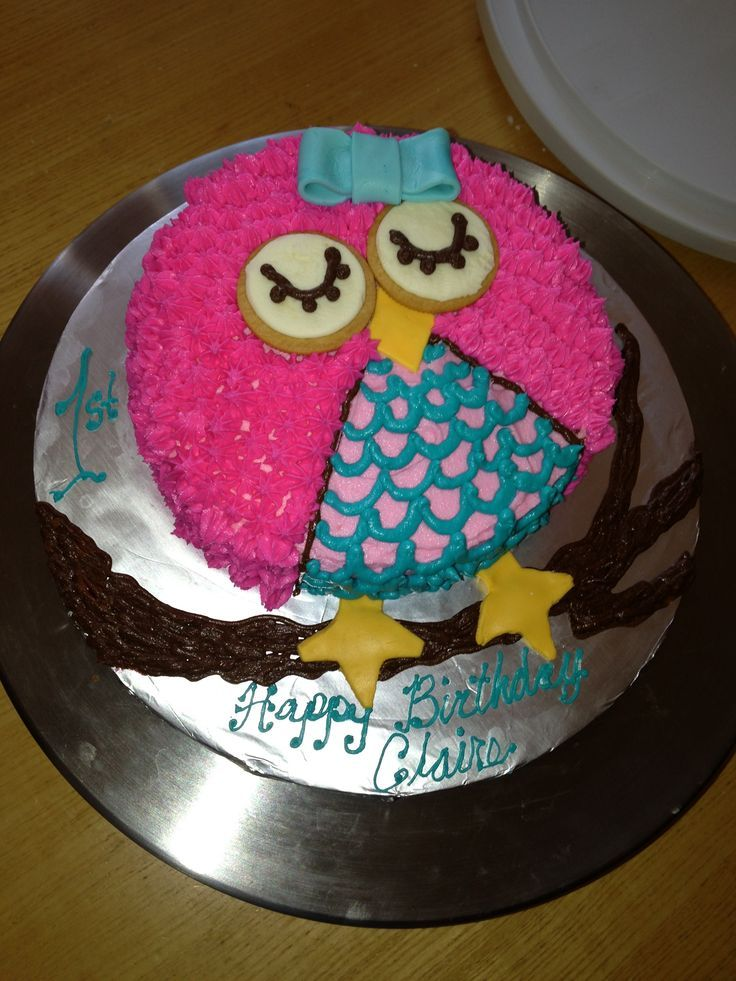 Owl birthday cake I might be able to make this one Birthday