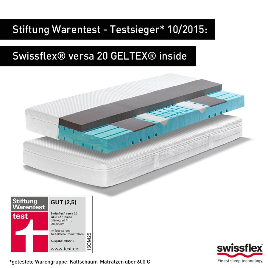 Swissflex  |  Stiftung Warentest – Testsieger* 10/2015: Swissflex®  versa 20 GELTEX® inside. Das Multitalent für Entlastung und Stützung bei bestmöglicher Klimatisierung. *getestete Warengruppe: Kaltschaum-Matratzen über 600 €