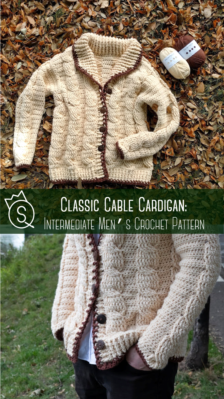 Classic Cable Cardigan Crochet Pattern By The Queen Stitch Cable Sweater Pattern Crochet Cable Crochet Cardigan Pattern
