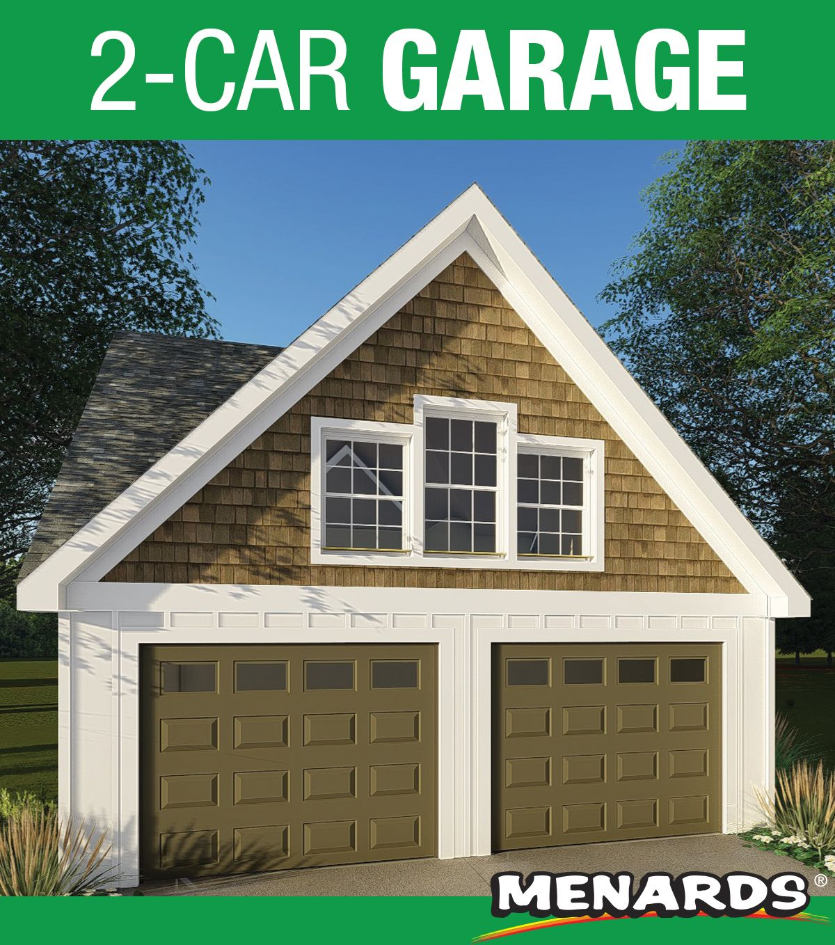 The 24 X 26 X 9 Two Car Garage With Dormer Features Two 9 X 7 Overhead Garage Doors With Openers Three Windows Craftsman Bungalows Entry Doors Car Garage