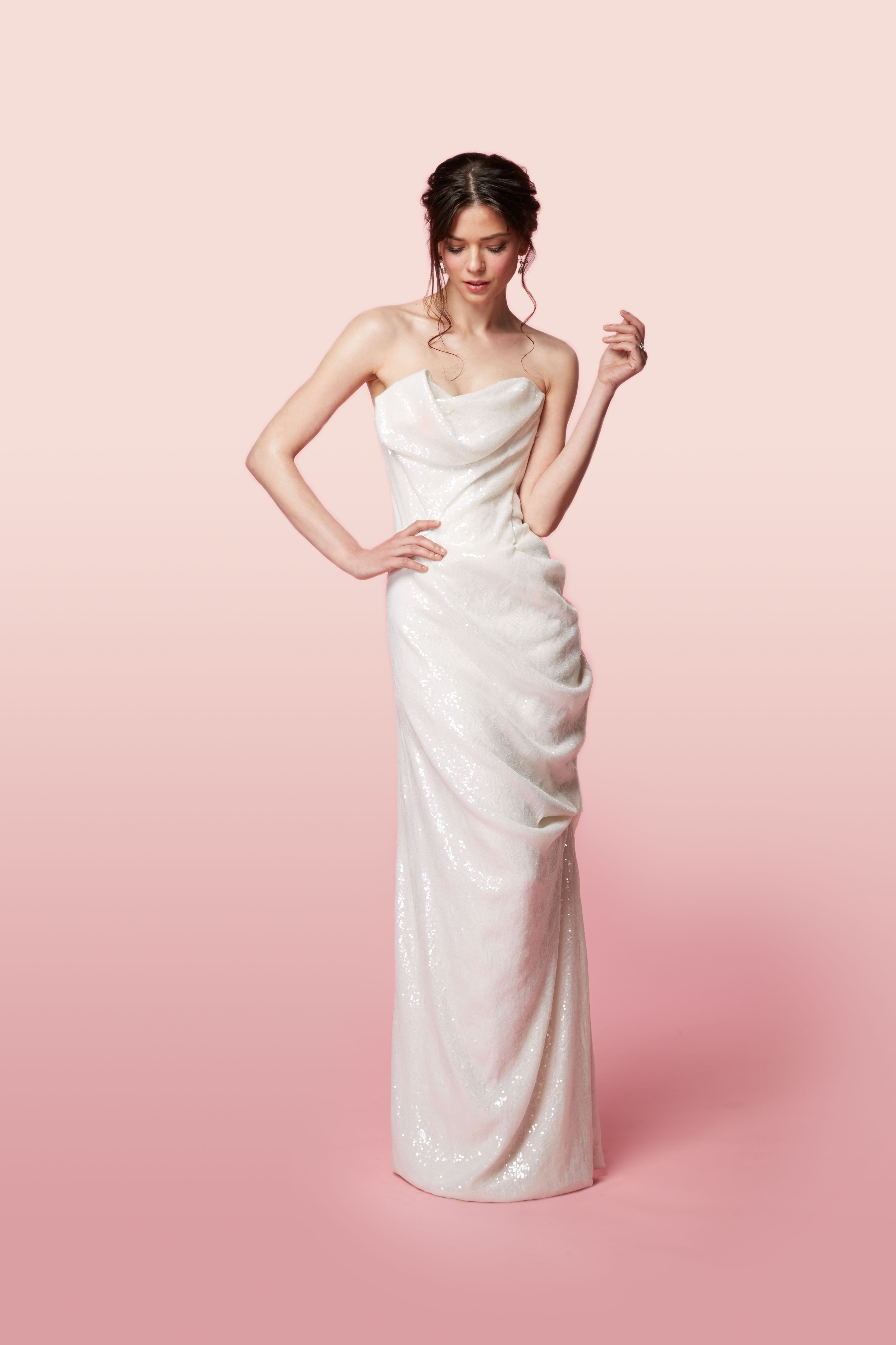 5233827306a ... dresses are perfect for bridal. Vivienne Westwood Made-To-Order Long  Delicate Drape Dress In Ivory Sequins