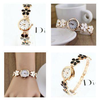 1 x New Fashion mulheres menina margaridas flor rosa de ouro relógio de pulso pulseira menina decoração