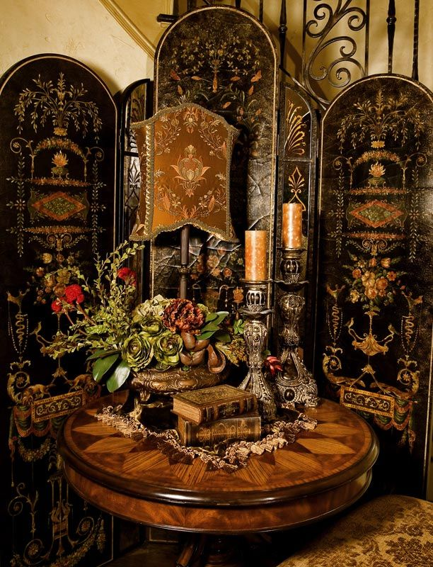 Inspired Whims Room Divider Curtain Another Book Sling: Ornate Room Divider; Inlaid Table Design; Carved