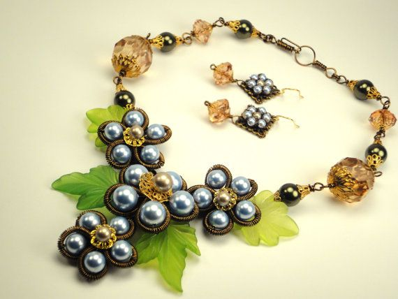 Blue Flower Garden Wire Wrapped Swarovski Pearl Necklace/Party/Gift/Flower Necklace on Etsy, $45.00