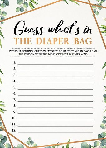Guess Whats In the Diaper Bag, Baby Shower Game Printable, Instant Download, Co-ed Baby Shower, Gender Neutral Baby Shower Game, Greenery