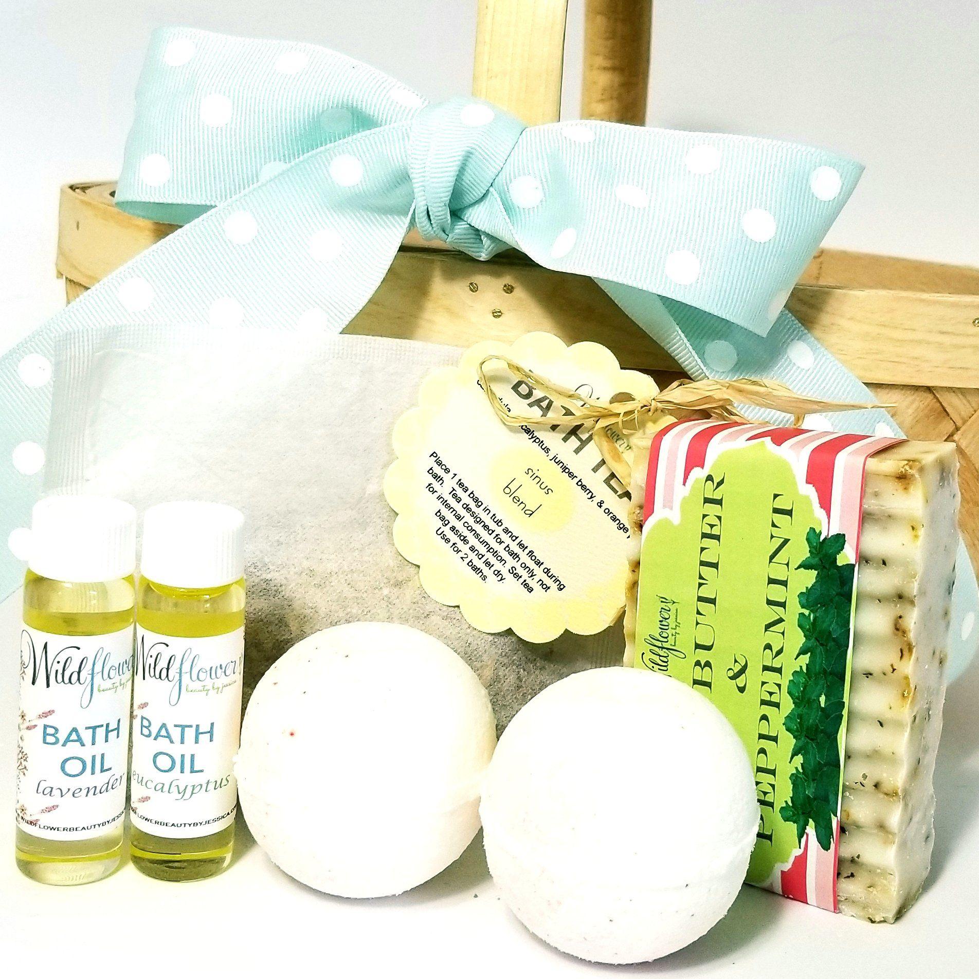 Bath Care Set  Refresh Spa Gift Basket  Natural