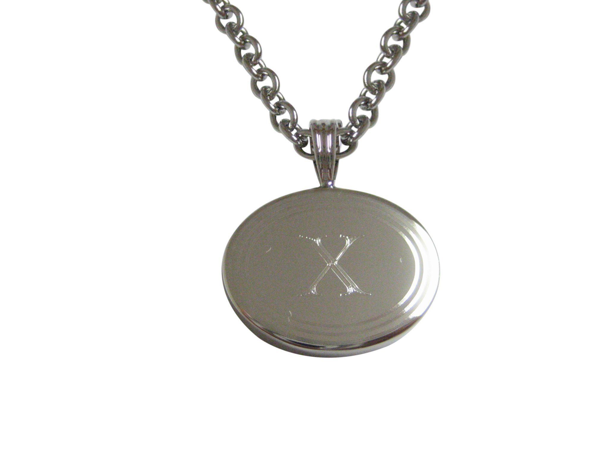 Silver toned etched oval letter x monogram pendant necklace