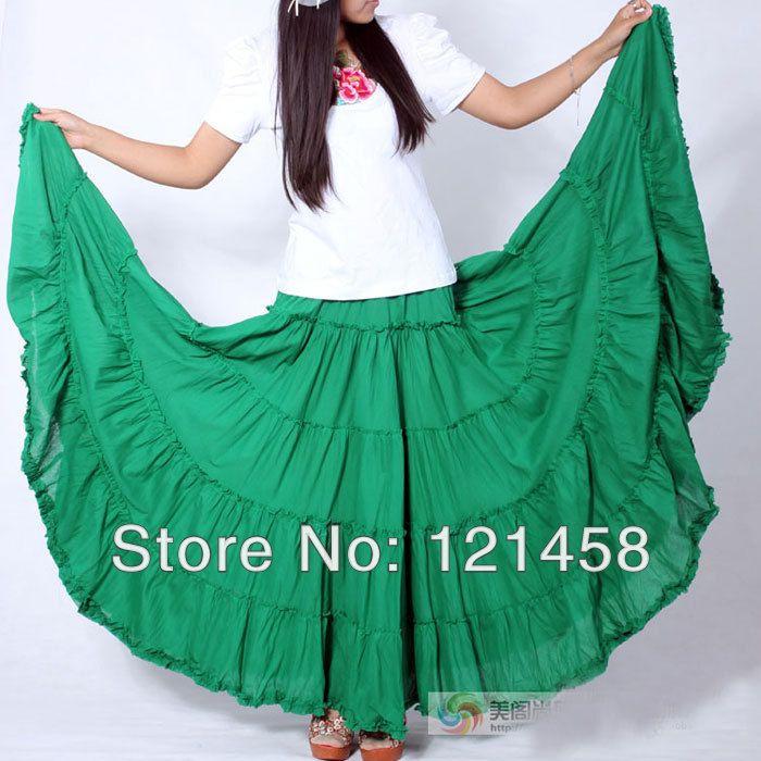 98b21c5b19 5 layer stitching Gypsy Bohemian BOHO full circle cotton maxi skirts ...
