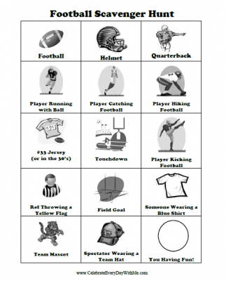 Free Scavenger Hunt Printable For A Football Game  Gaming Free