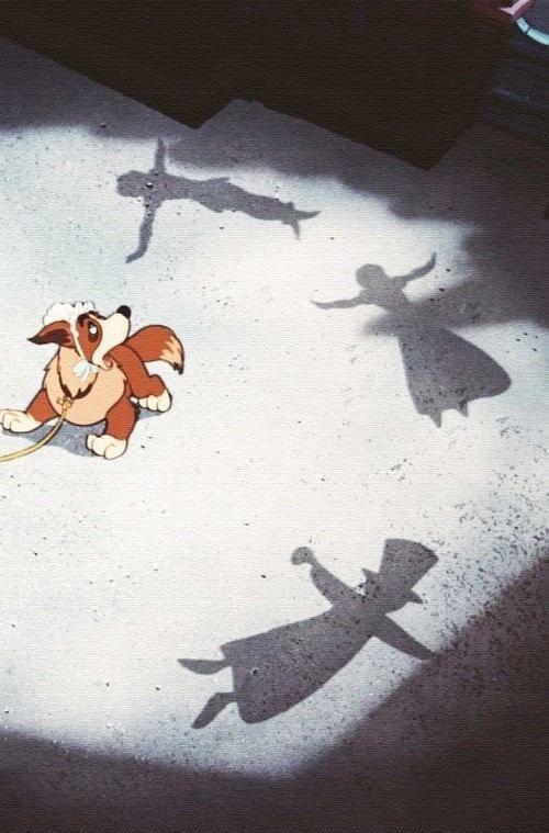 Nana and shadows of Peter, Wendy and John.