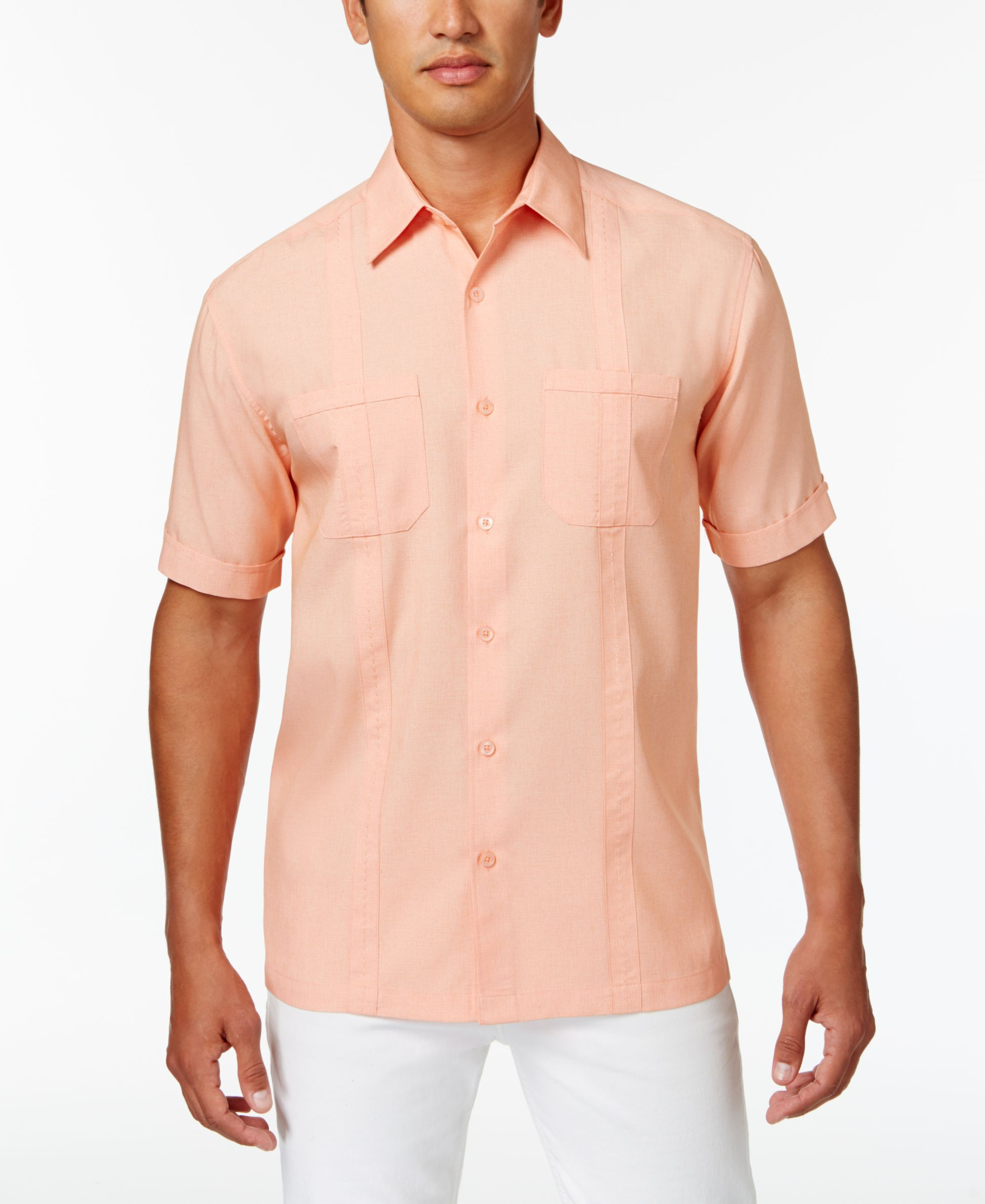 Cubavera Men's Chambray Dual-Pocket Shirt