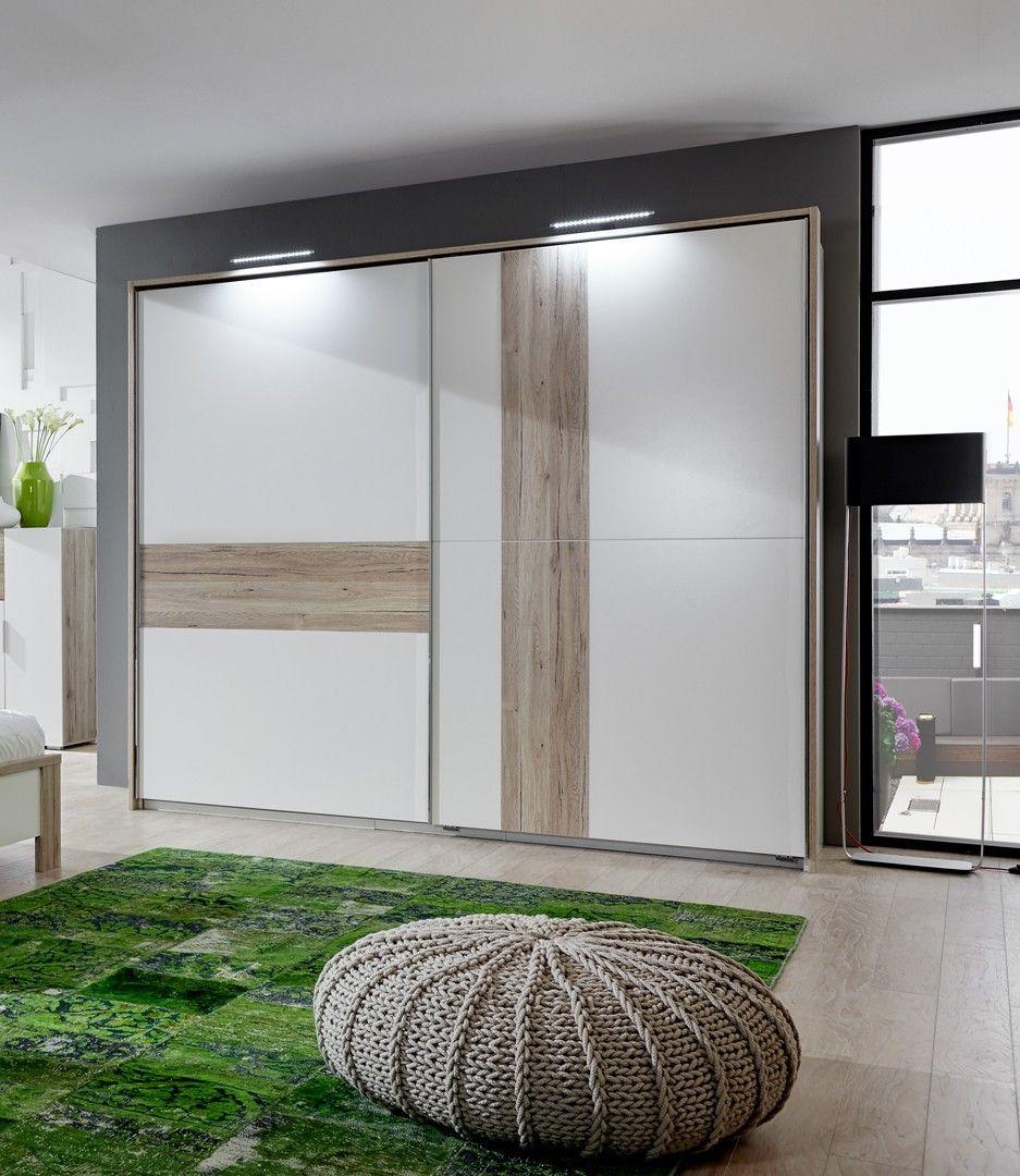 Armoire design portes coulissantes coloris chêne/blanc alpin Evita ...