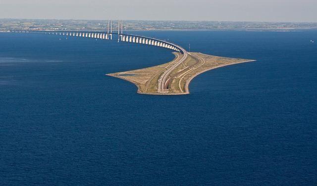The train bridge and tunnel from Copenhagen to Malmo, Sweden