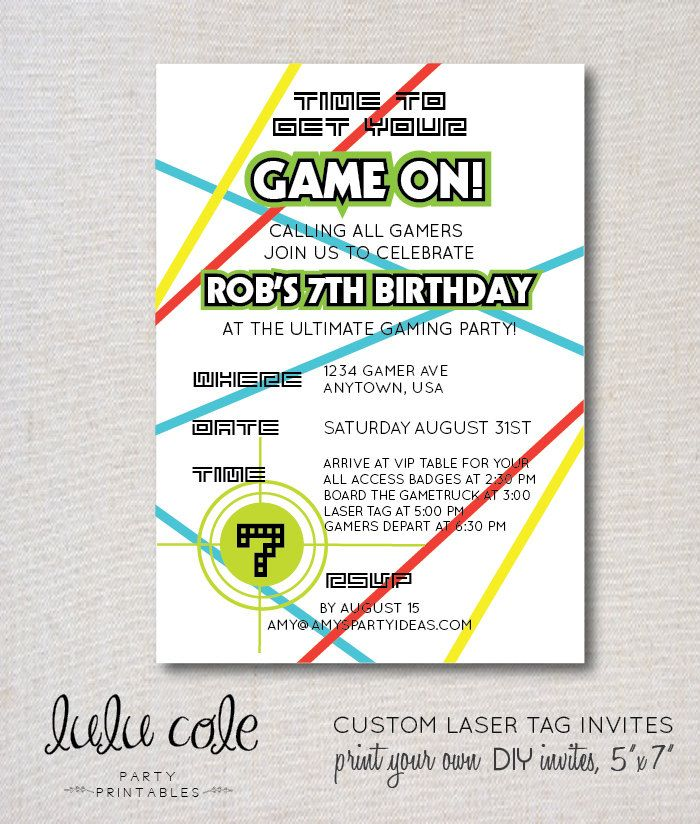 Laser Tag Party | Laser Tag Invitations | Gamer Truck Party | Video ...