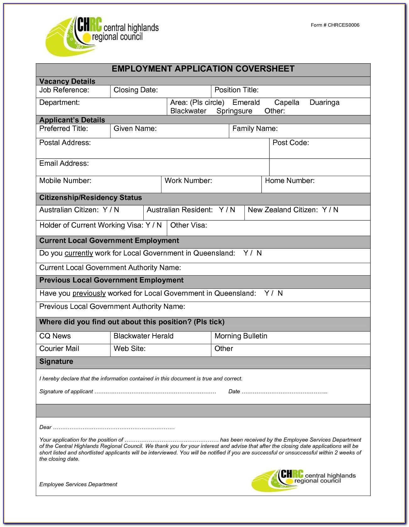Job Application Form Template Word Malaysia Form