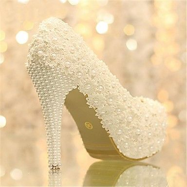 Women's Shoes Platform Stiletto Heel Pumps with Pearl Wedding Shoes More Colors available – USD $ 49.99