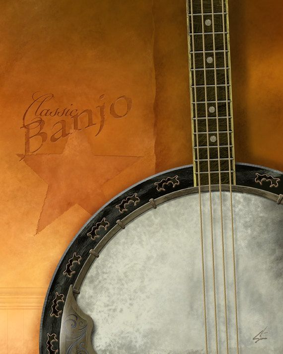 The Banjo - 8 x 10 rustic yellow musical instrument art print on Etsy, $18.00