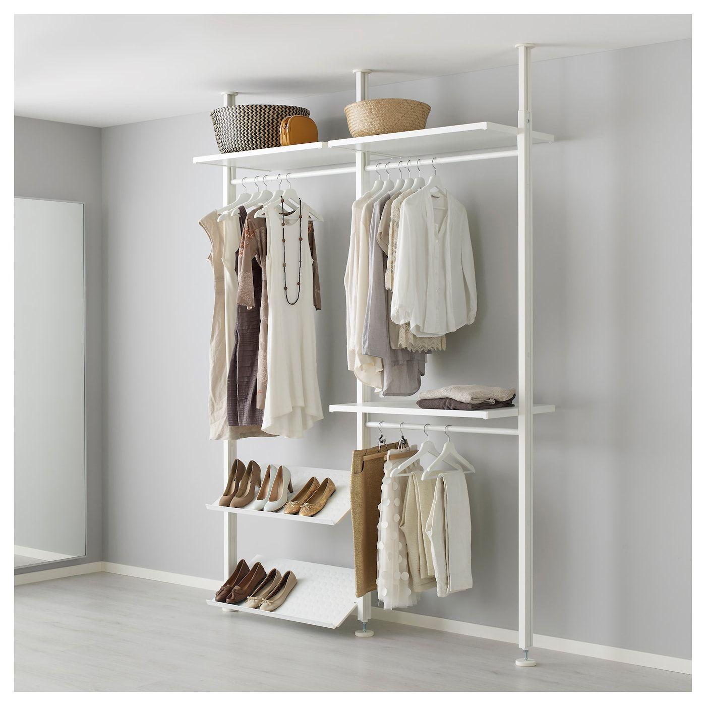 Elvarli 2 Section Shelving Unit White Width 68 7 8 Min Height 87 1 4 Order Here Ikea 寝室の棚 クローゼットシステム オープンクローゼット