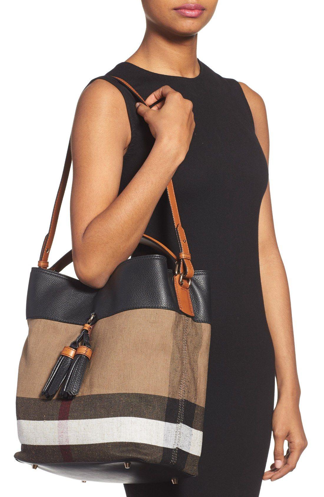 ba4fa3cd9d Burberry 'Medium Susanna' Check Bucket Bag Leather Tassel, Pebbled Leather,  Signature Style