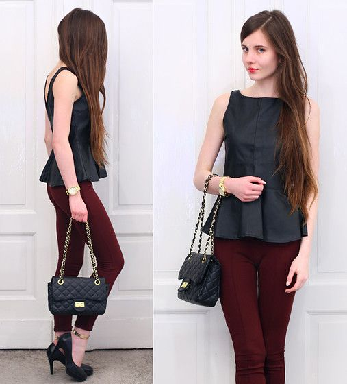 Vivilli Black Leather Vest With Peplum, Romwe Burgundy Pants, Embis Leather Black Heels, Arafeel Black Bag With Gold Chain, Back Stage Gold Ankle Cuffs, Bang Good Gold Crystal Watch