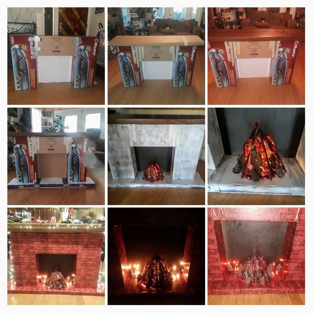 DIY cardboard fireplace! Used cardboard boxes, Fake