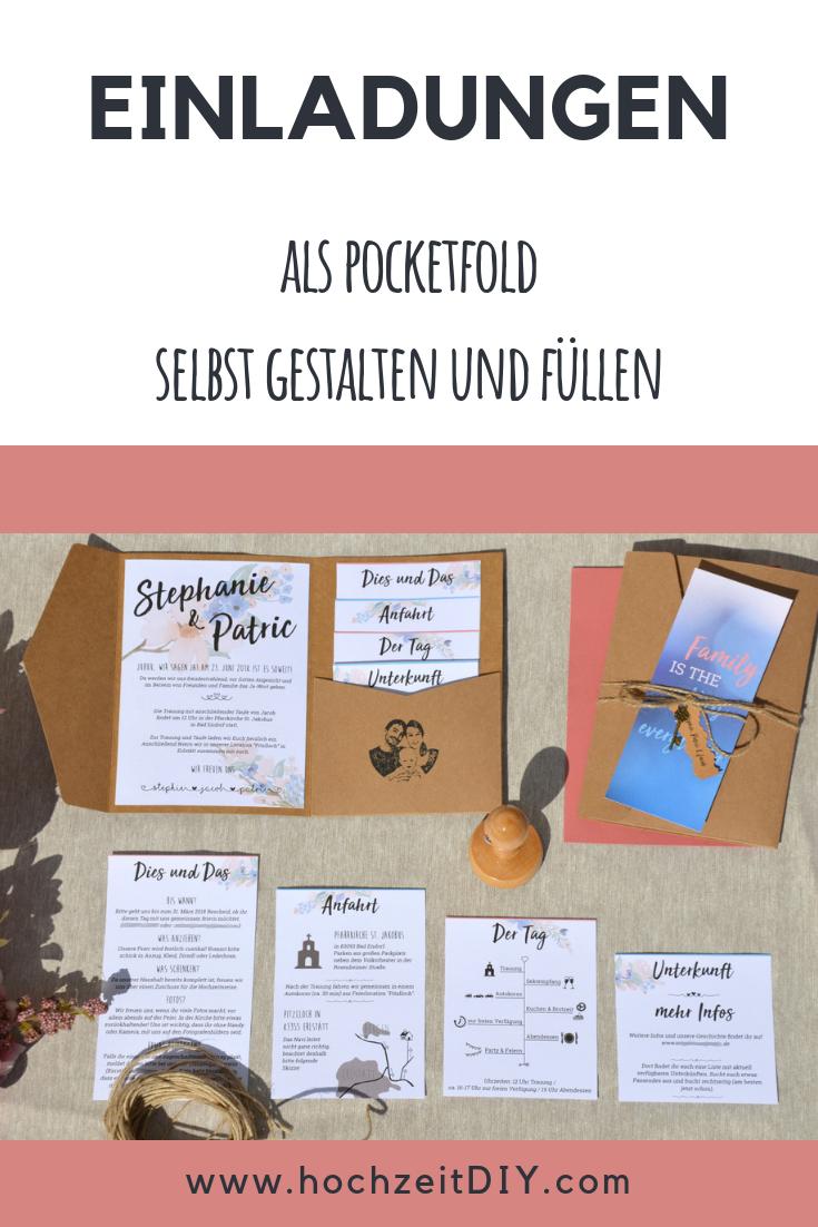 Einladung Hochzeit - Kraftpapier Pocketfold mit Blumenranken - DIY Hochzeit