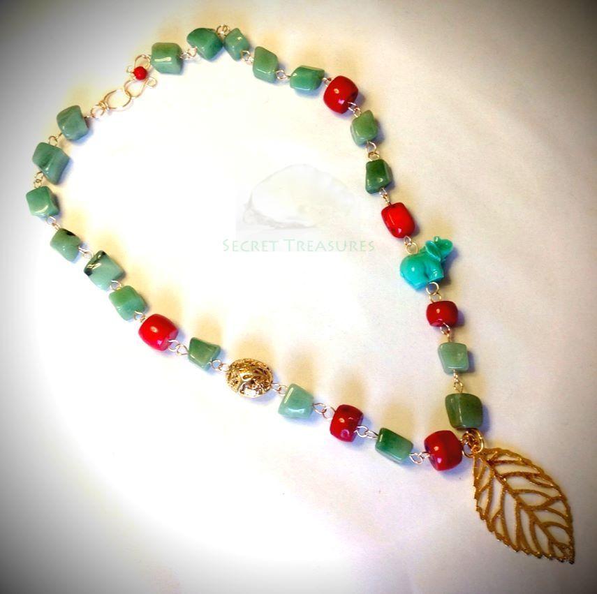 Collar de piedras semipreciosas con dije oro laminado - Piedras para collares ...