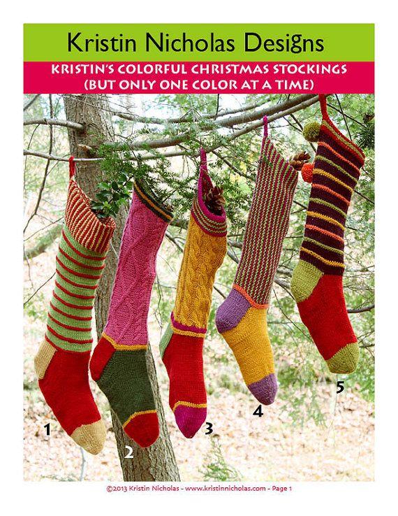 Colorful Christmas Stocking Handknitting Pattern PDF Download - Not ...