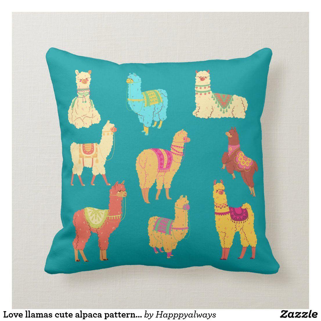 Cute Llamas South American Alpaca Animal Pattern Throw Pillow Zazzle Com In 2021 Throw Pillows Patterned Throw Pillows Alpaca Stuffed Animal