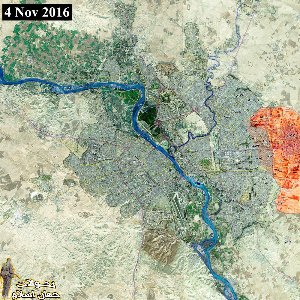 Mosul map It is clear that Iraqi forces reached to Mosul