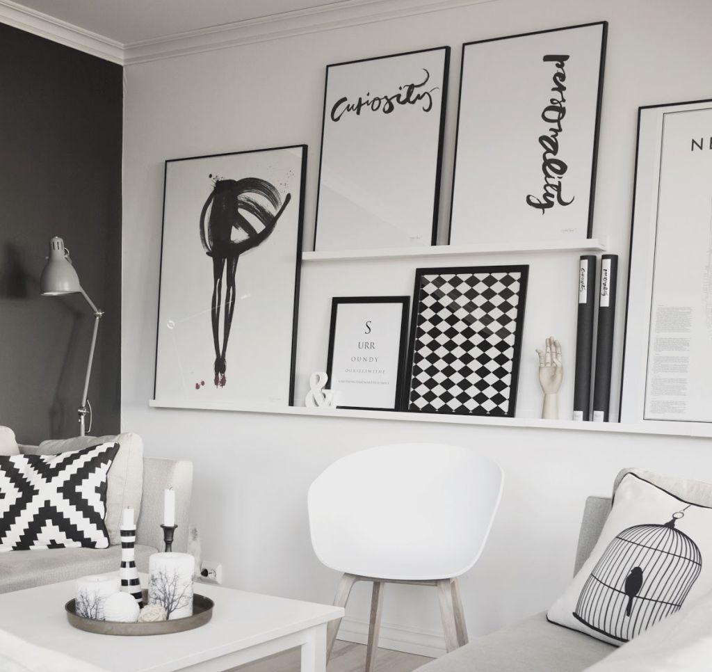 Biało Czarne Dekoracje W Salnie Z Biała Sofąbiała ściana Z