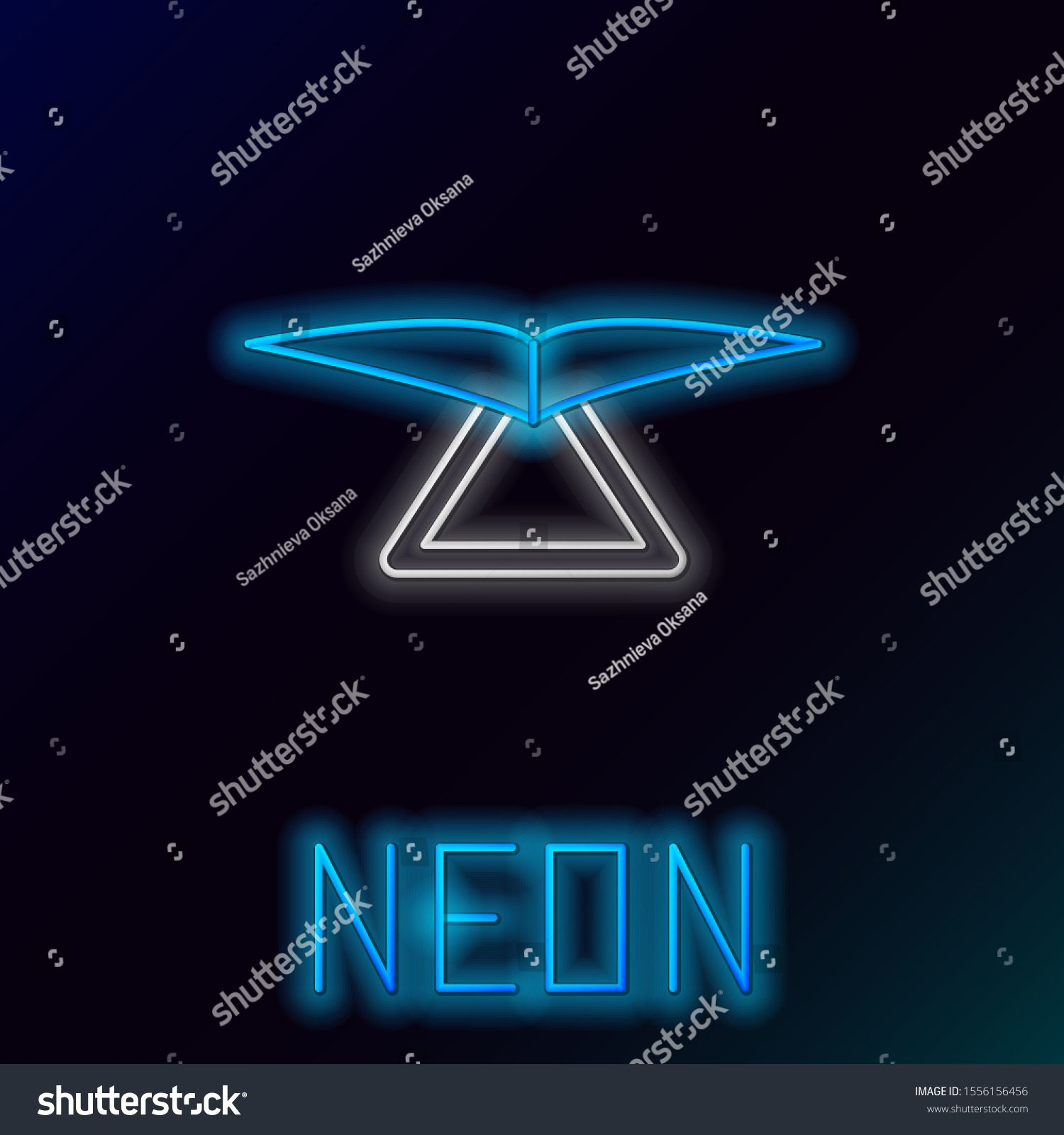 Blue glowing neon line Hang glider icon isolated on black