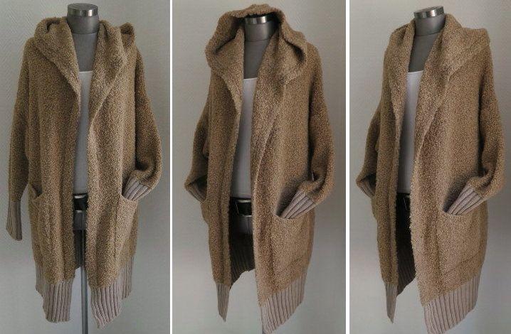 Damen Strickjacke Pullover Boho Oversize 36 38 40 (Beige