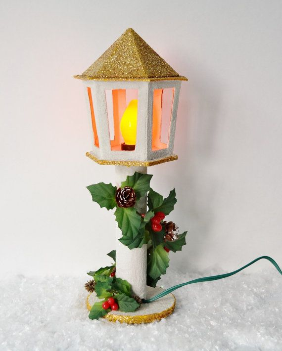 Holy christmas wow christmas lamp post vintage paper for How to make paper mache lamps